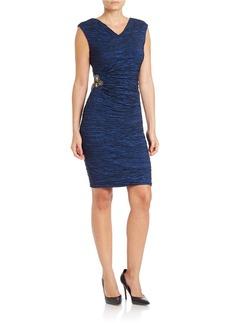 CALVIN KLEIN Embellished Ruched Sheath Dress