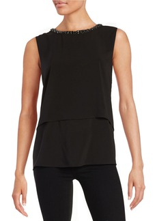 CALVIN KLEIN Embellished Tiered Blouse