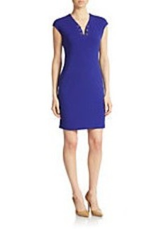 CALVIN KLEIN Embellished V-Neck Sheath Dress