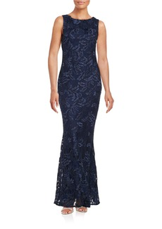 CALVIN KLEIN Embroidered Lace Trumpet Gown