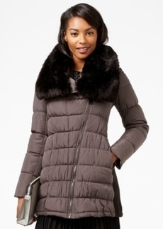 Calvin Klein Faux-Fur-Collar Asymmetrical Puffer Coat