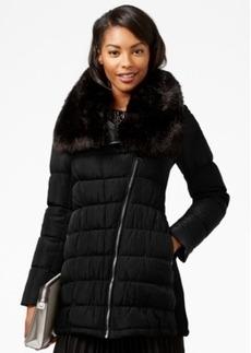 Calvin Klein Faux-Fur-Collar Asymmetrical Puffer Coat