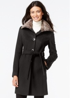 Calvin Klein Faux-Fur-Collar Belted Peacoat
