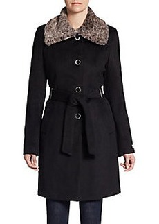 Calvin Klein Faux Fur-Collar Coat