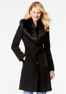 Calvin Klein Faux-Fur-Collar Walker Coat