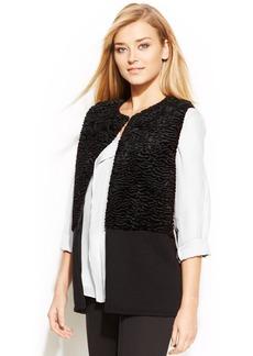 Calvin Klein Faux-Fur-Panel Knit Vest