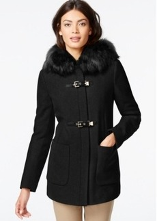 Calvin Klein Faux-Fur-Trim Buckled Coat
