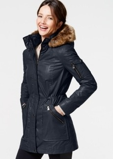 Calvin Klein Faux-Fur-Trim Coated-Cotton Anorak
