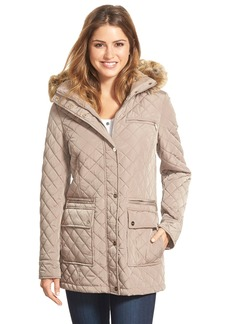 Calvin Klein Faux Fur Trim Hood Quilted Barn Jacket