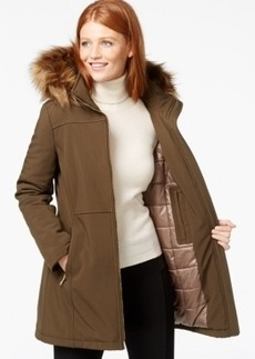Calvin Klein Faux-Fur-Trim Hooded Softshell Jacket