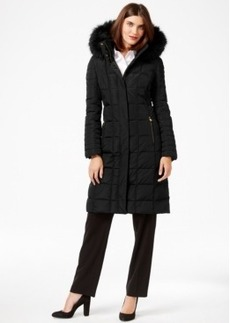 Calvin Klein Faux-Fur-Trim Knee-Length Down Coat