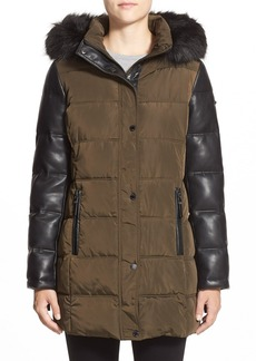 Calvin Klein Faux Fur Trim Mixed Media Hooded Quilted Coat
