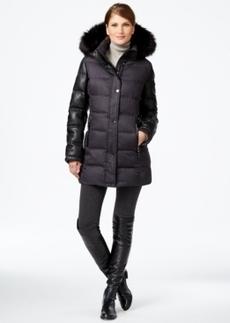 Calvin Klein Faux-Fur-Trim Mixed-Media Puffer Coat