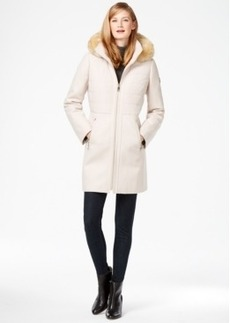 Calvin Klein Faux-Fur-Trim Mixed-Media Walker Coat