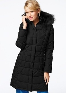 Calvin Klein Faux-Fur-Trim Quilted Puffer Coat