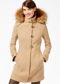 Calvin Klein Faux-Fur-Trim Turn-Lock Walker Coat