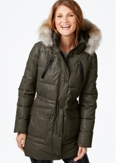 Calvin Klein Faux-Fur-Trim Waxed Cotton Puffer Coat