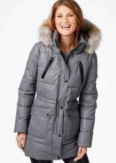 Calvin Klein Faux-Fur-Trim Waxed Cotton Puffer Coat