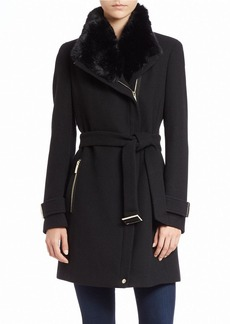 CALVIN KLEIN Faux Fur-Trimmed Asymmetrical-Zip Coat
