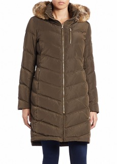 CALVIN KLEIN Faux Fur-Trimmed Down Puffer Coat