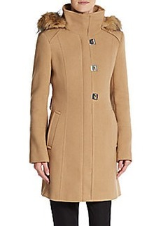 Calvin Klein Faux Fur-Trimmed Hooded Coat