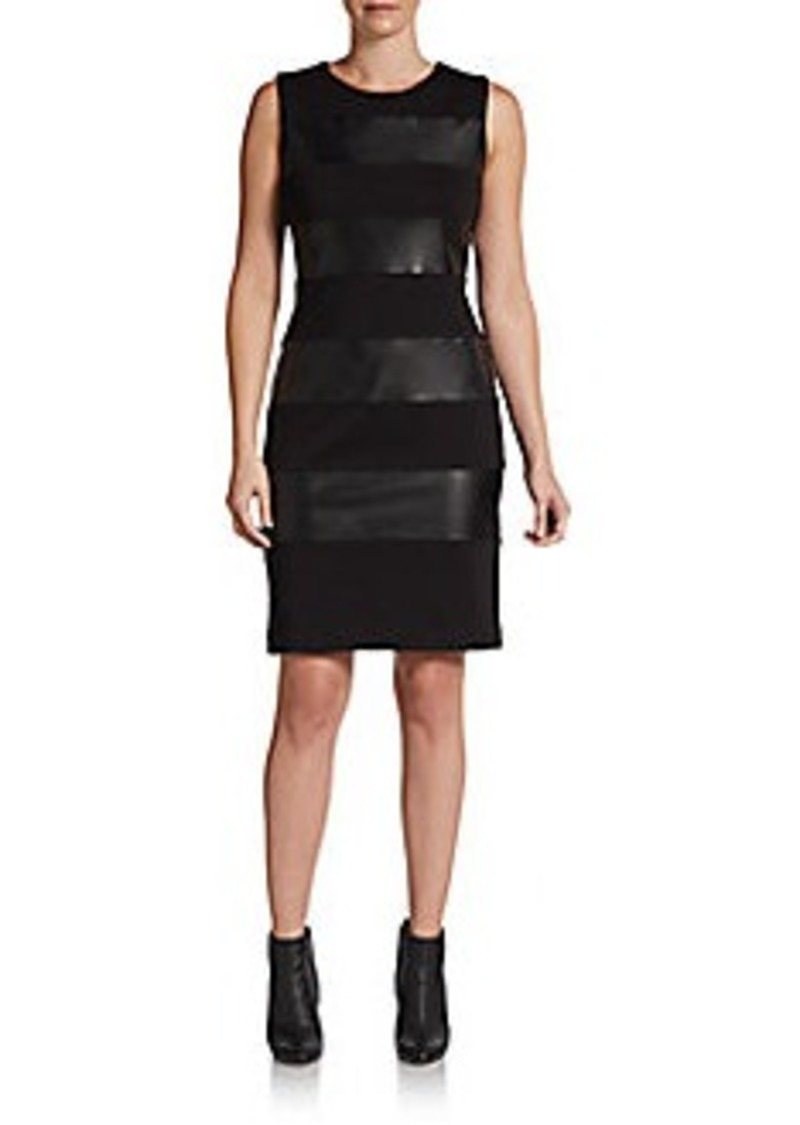 Calvin Klein Faux Leather & Ponte Knit Dress