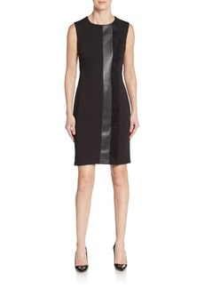 Calvin Klein Faux Leather & Velvet-Trimmed Ponte Sheath Dress