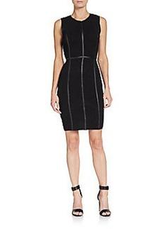 Calvin Klein Faux-Leather Detail Sheath Dress