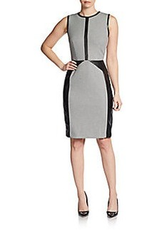 Calvin Klein Faux Leather Houndstooth Dress