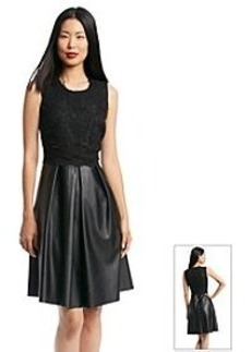 Calvin Klein Faux Leather Lace Fit And Flare Dress