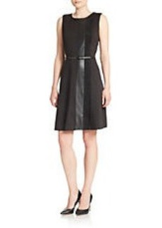 CALVIN KLEIN Faux Leather Panelled Dress