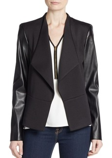 Calvin Klein Faux Leather-Sleeve Ponte Knit Jacket