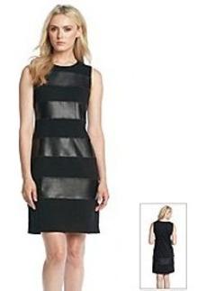 Calvin Klein Faux Leather Striped Ponte Shift Dress