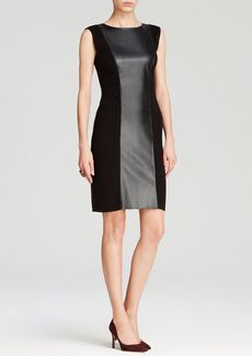 Calvin Klein Faux Leather Sweater Dress