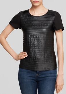Calvin Klein Faux Leather Tier Front Tee