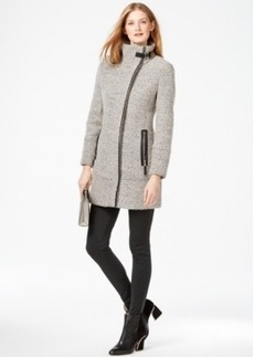 Calvin Klein Faux-Leather-Trim Asymmetrical Tweed Coat