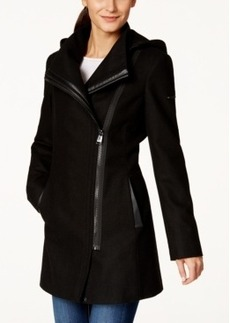Calvin Klein Faux-Leather-Trim Asymmetrical Walker Coat