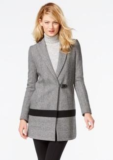 Calvin Klein Faux-Leather-Trim Buckled Herringbone Walker Coat