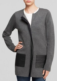 Calvin Klein Faux Leather Trim Cardigan
