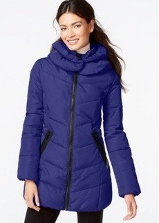 Calvin Klein Faux-Leather-Trim Funnel-Collar Quilted Coat