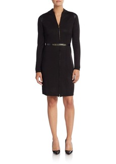 Calvin Klein Faux Leather Trim Sweater Dress