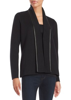 CALVIN KLEIN Faux Leather-Trimmed Cardigan