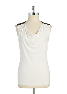 CALVIN KLEIN Faux Leather-Trimmed Cowlneck Top