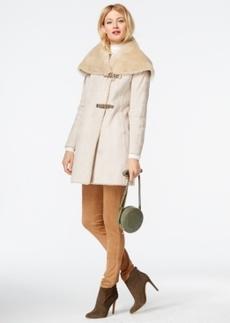 Calvin Klein Faux-Shearling Asymmetrical Buckled Coat
