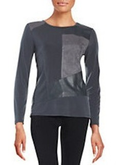 CALVIN KLEIN Faux Suede and Leatherette Patchwork Top