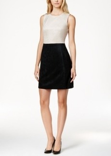 Calvin Klein Faux-Suede Colorblocked A-Line Dress
