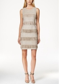 Calvin Klein Faux-Suede Fringe Sheath Dress