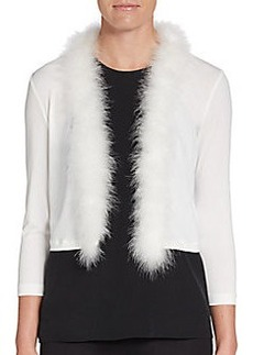 Calvin Klein Feather-Trimmed Bolero Cardigan