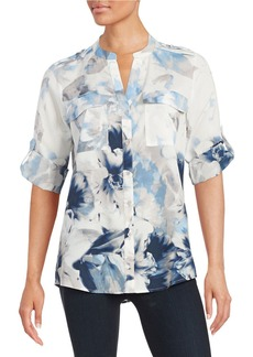 CALVIN KLEIN Floral Button-Front Blouse