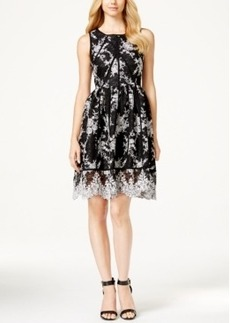 Calvin Klein Floral-Lace Fit & Flare Dress